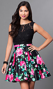 Image of short lace-bodice party dress with floral-print skirt. Style: DQ-9517 Front Image
