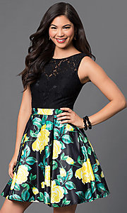 Image of short lace-bodice party dress with floral-print skirt. Style: DQ-9517 Detail Image 1