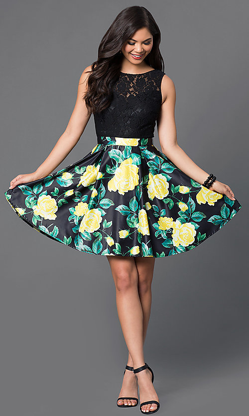Image of short lace-bodice party dress with floral-print skirt. Style: DQ-9517 Detail Image 2