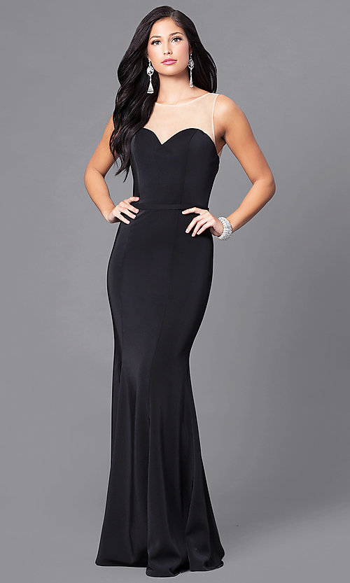 Image of floor-length illusion-sweetheart prom dress. Style: DQ-9524 Front Image