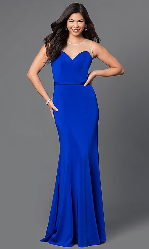 Image of floor-length illusion-sweetheart prom dress. Style: DQ-9524 Detail Image 2