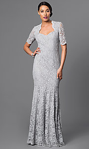 Long Lace Half Sleeve Mermaid Dress