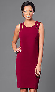 Image of knee-length sleeveless double-strap sheath dress. Style: DE-183739 Front Image