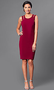 Image of knee-length sleeveless double-strap sheath dress. Style: DE-183739 Detail Image 1