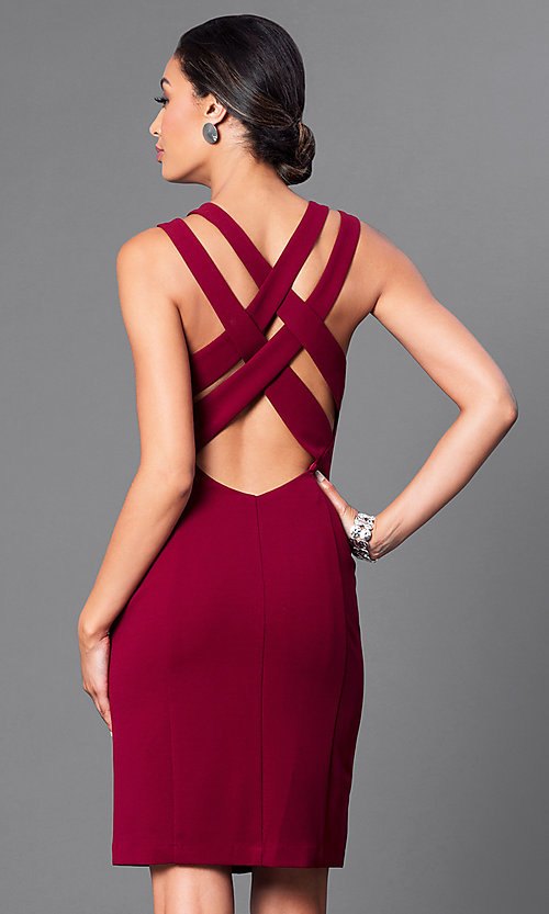 Image of knee-length sleeveless double-strap sheath dress. Style: DE-183739 Back Image