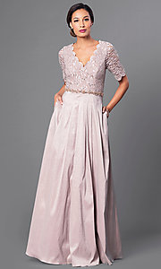 Lace Bodice Floor Length V-Neck Dress