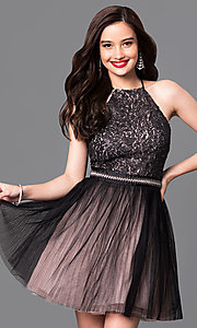 Trendy Mock-Halter Short Homecoming Dress