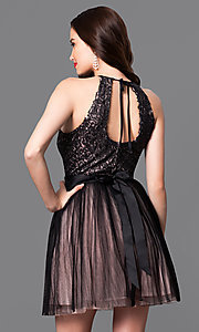 Image of trendy mock-halter short homecoming dress. Style: TX-290814W7XI Back Image