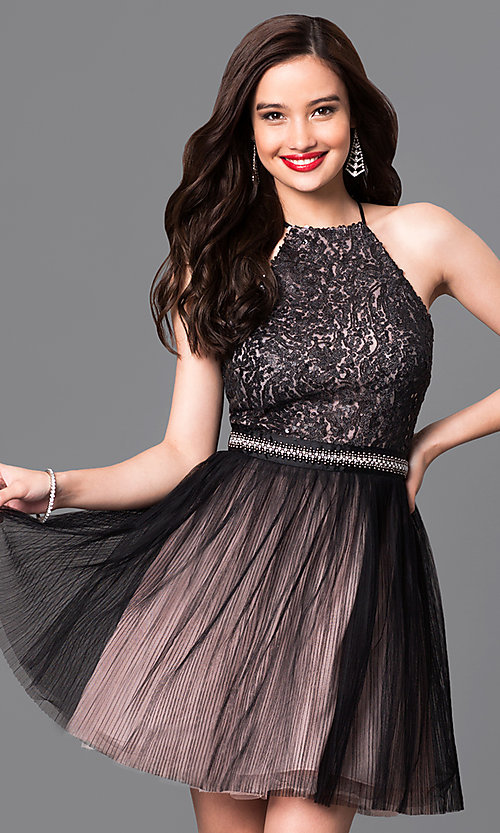 Image of trendy mock-halter short homecoming dress. Style: TX-290814W7XI Front Image