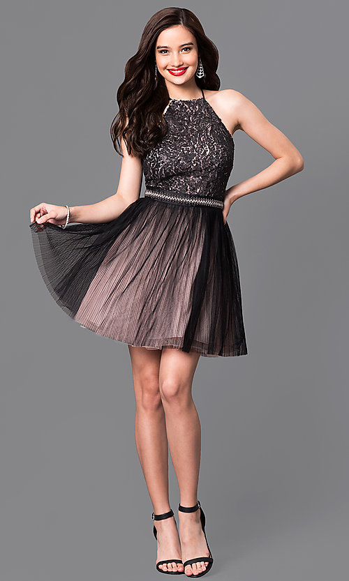 Image of trendy mock-halter short homecoming dress. Style: TX-290814W7XI Detail Image 1