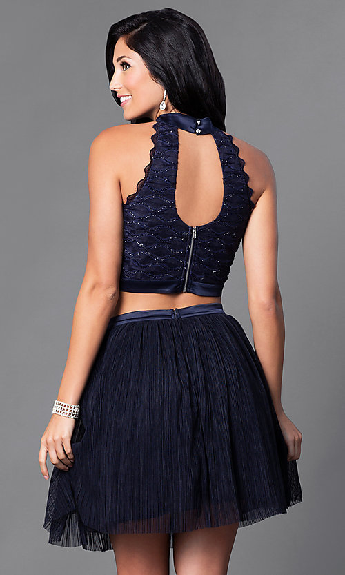 Image of high-neck two-piece navy blue homecoming dress. Style: TX-290816W7WI Back Image