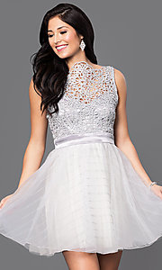 Image of beaded-bodice short silver homecoming dress. Style: TX-290890BA7I Front Image