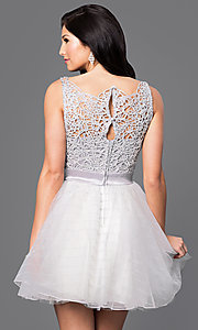 Image of beaded-bodice short silver homecoming dress. Style: TX-290890BA7I Back Image