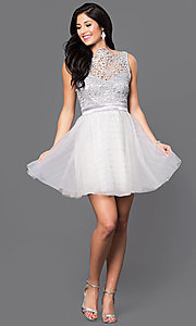 Image of beaded-bodice short silver homecoming dress. Style: TX-290890BA7I Detail Image 1