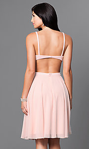 Image of mock two-piece knee-length blush homecoming dress. Style: TI-GL-1621H1065 Back Image