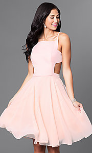 Image of mock two-piece knee-length blush homecoming dress. Style: TI-GL-1621H1065 Front Image