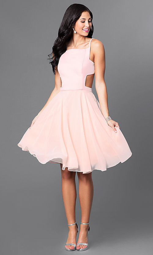 Image of mock two-piece knee-length blush homecoming dress. Style: TI-GL-1621H1065 Detail Image 1