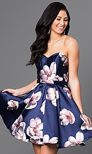 Short Floral Print Strapless Dress