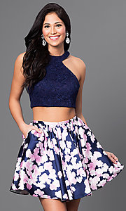 Two-Piece Navy Blue Homecoming Dress with Lace Top