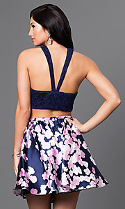 Image of two-piece navy blue homecoming dress with lace top. Style: JOJ-16511 Back Image