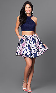 Image of two-piece navy blue homecoming dress with lace top. Style: JOJ-16511 Detail Image 1