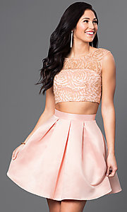 Two Piece Short Dress with Cut Out Back