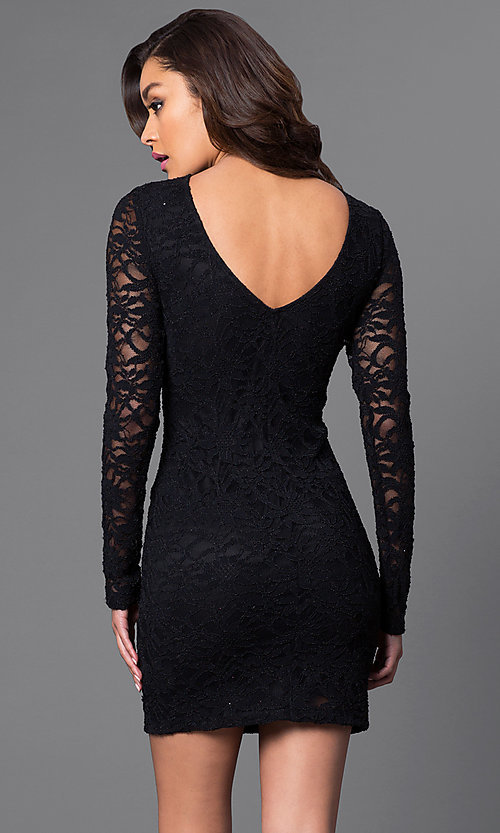 Image of long-sleeve black lace homecoming party dress. Style: JU-49008 Back Image