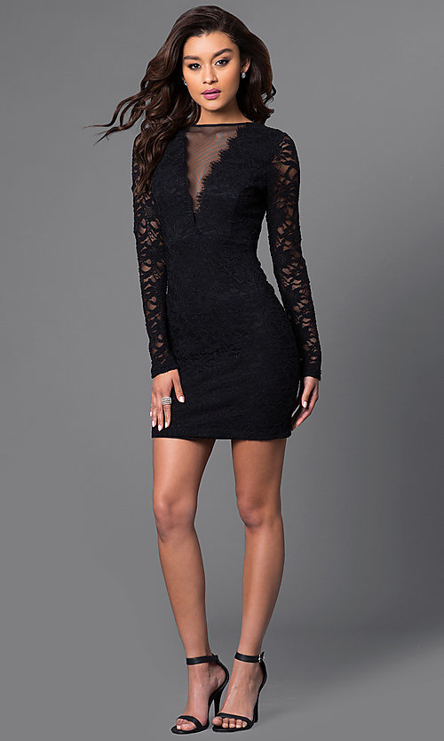 Image of long-sleeve black lace homecoming party dress. Style: JU-49008 Detail Image 1