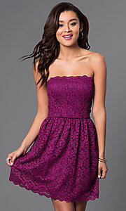 Short Strapless Lace Trendy Party Dress
