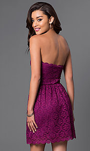 Image of short strapless lace trendy party dress. Style: JU-49165 Back Image