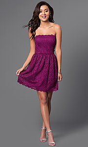 Image of short strapless lace trendy party dress. Style: JU-49165 Detail Image 1