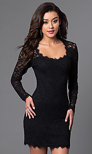 Image of long-sleeve black lace homecoming mini dress. Style: JU-49105 Front Image