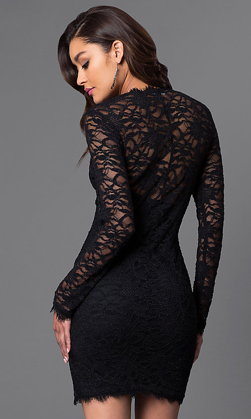 Image of long-sleeve black lace homecoming mini dress. Style: JU-49105 Back Image