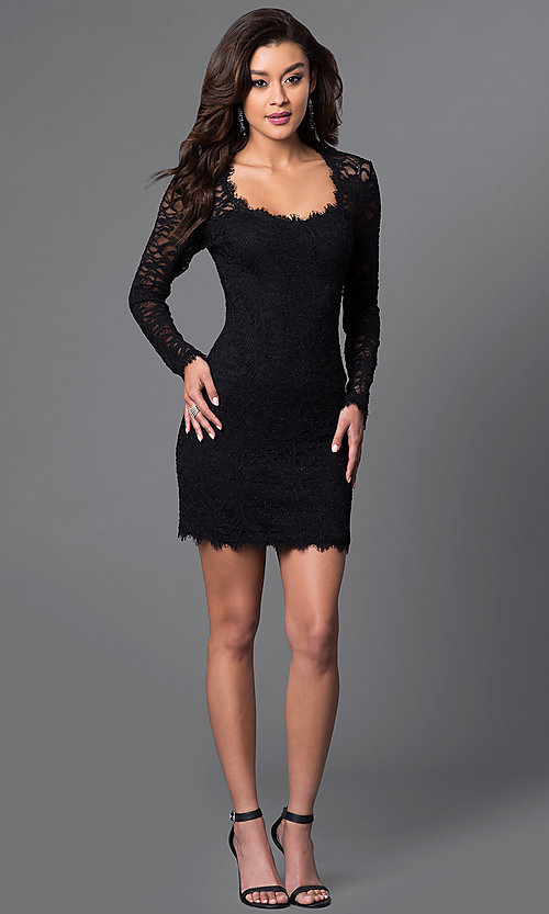 Image of long-sleeve black lace homecoming mini dress. Style: JU-49105 Detail Image 1
