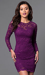 Image of long sleeve bodycon lace dress. Style: JU-49112 Front Image