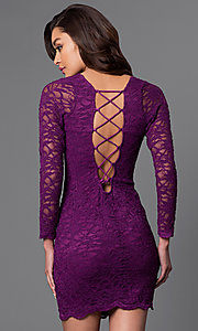 Image of long sleeve bodycon lace dress. Style: JU-49112 Back Image