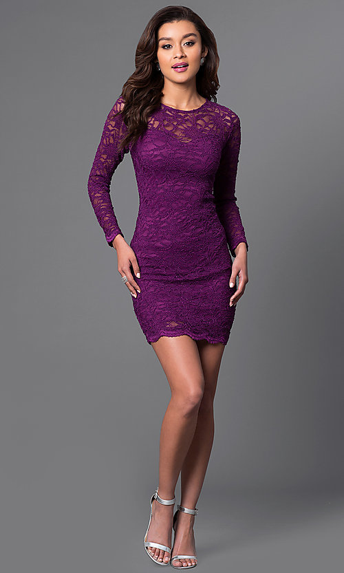 Image of long sleeve bodycon lace dress. Style: JU-49112 Detail Image 1