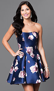 Royal-Blue Floral-Print Short Strapless Dress
