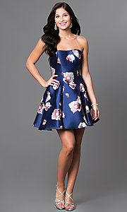 Image of royal-blue floral-print short strapless dress Style: TI-GL-1625H2057 Detail Image 1