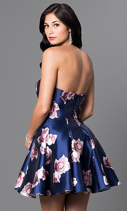Image of royal-blue floral-print short strapless dress Style: TI-GL-1625H2057 Back Image
