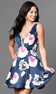 V-Neck Floral-Print Short Dress