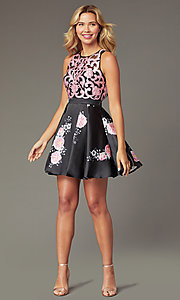 Image of short open-back floral-print homecoming dress Style: TI-GL-1625H2110 Front Image