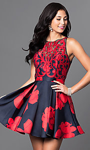 Short Open-Back Floral-Print Homecoming Dress