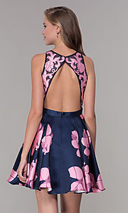 Image of short open-back floral-print homecoming dress Style: TI-GL-1625H2110 Back Image