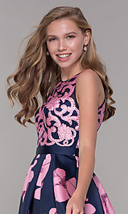 Image of short open-back floral-print homecoming dress Style: TI-GL-1625H2110 Detail Image 1