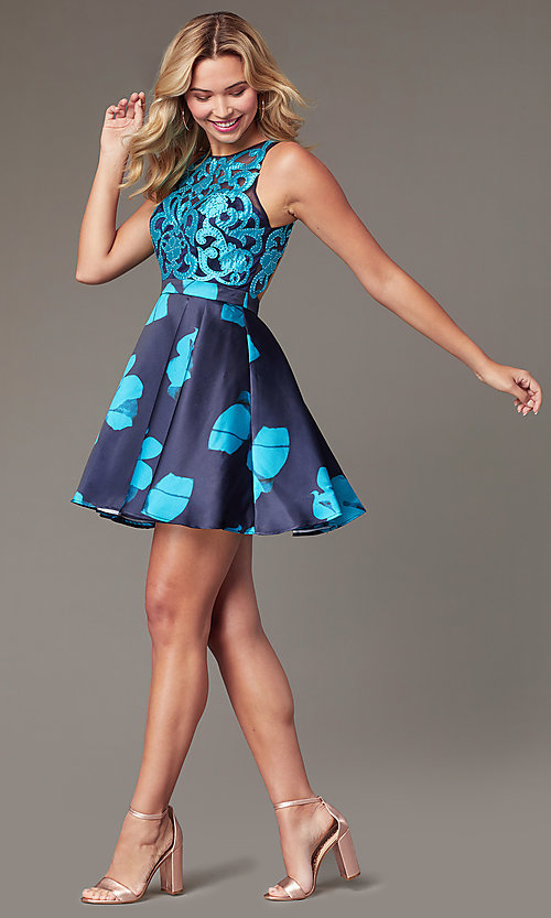 Image of short open-back floral-print homecoming dress Style: TI-GL-1625H2110 Detail Image 5