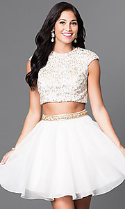 Image of sequined top two-piece short ivory homecoming dress. Style: TI-GL-1622H1118 Front Image
