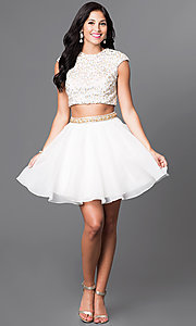 Image of sequined top two-piece short ivory homecoming dress. Style: TI-GL-1622H1118 Detail Image 1