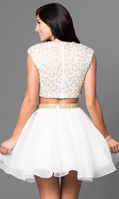 Image of sequined top two-piece short ivory homecoming dress. Style: TI-GL-1622H1118 Back Image