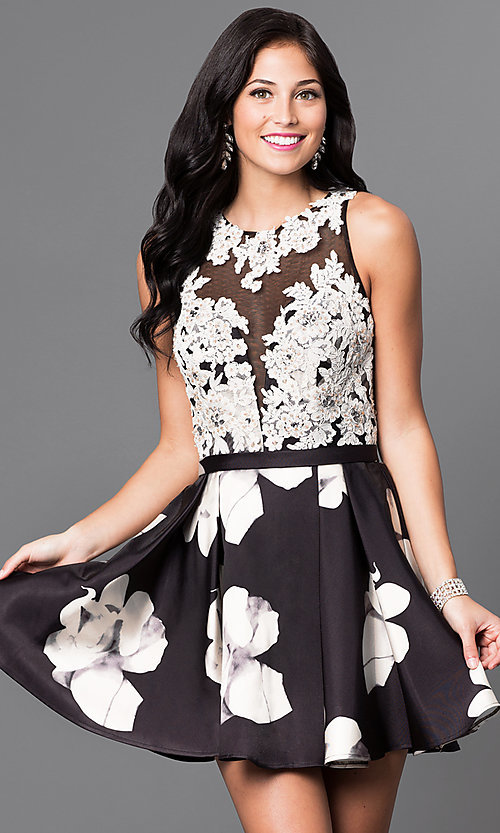 Image of satin skirt lace bodice short homecoming dress. Style: TI-GL-1625H2111 Front Image
